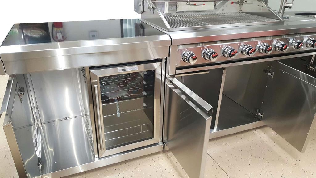 New 3 piece modular bbq grill island outdoor kitchen w for Prefab outdoor kitchen grill islands