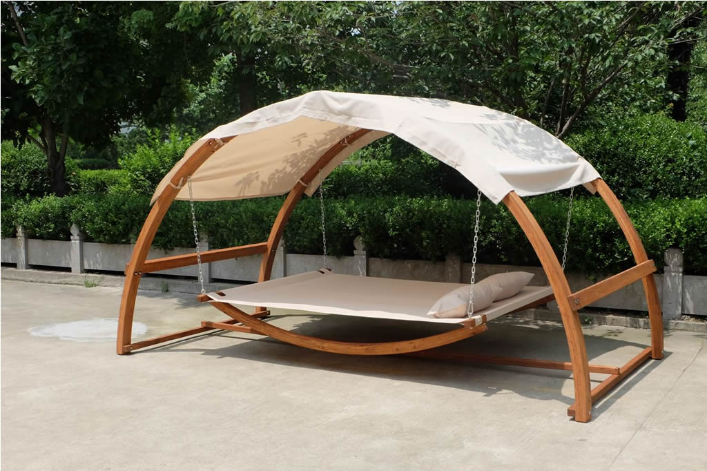 New Double Arched Wooden Swing Hammock Bed W Canopy 2