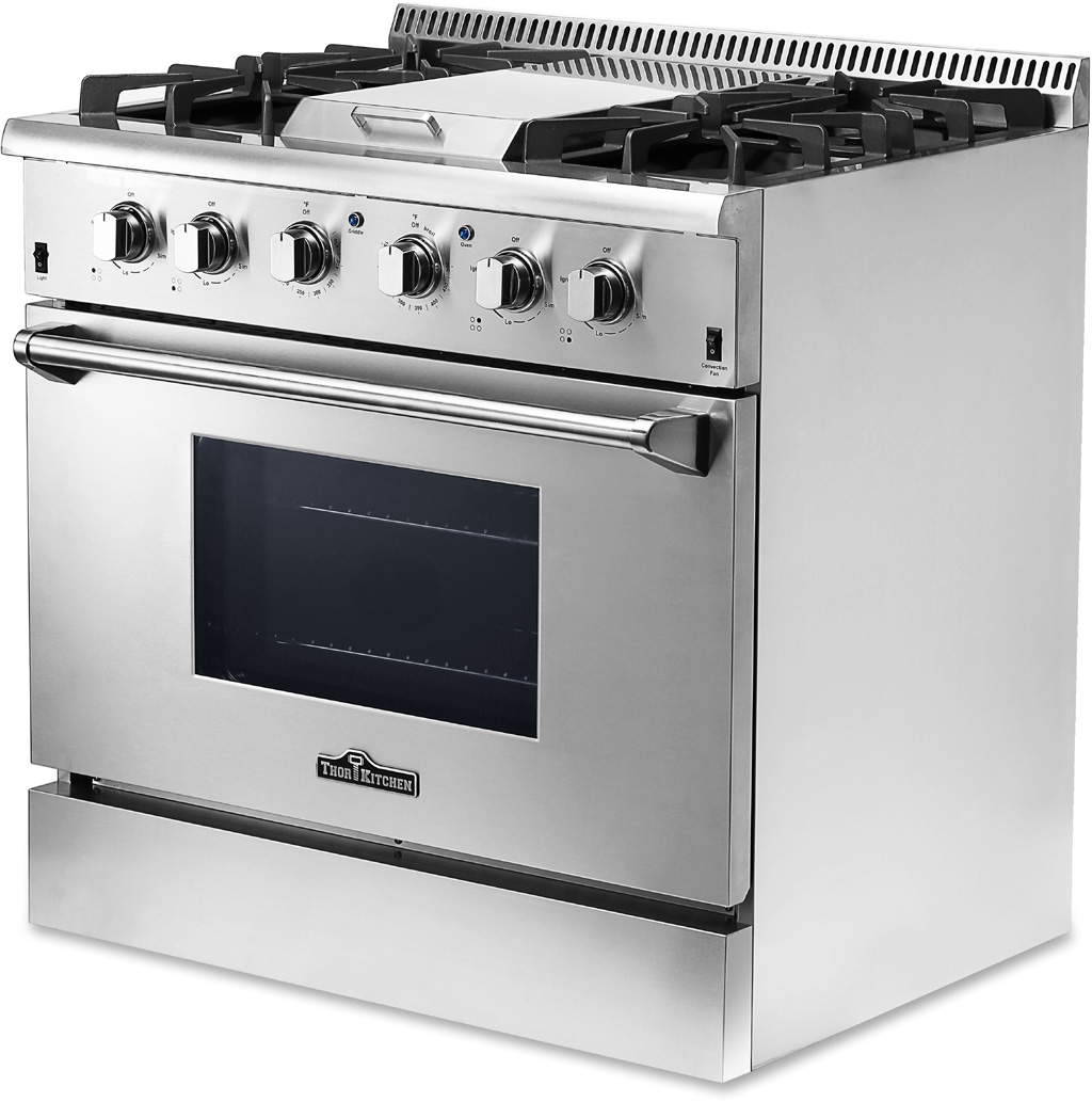 thor kitchen 36 4 burner gas range w griddle hrg3617u stainless steel cooker ebay. Black Bedroom Furniture Sets. Home Design Ideas